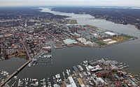 A River Shot of Annapolis Yacht Club and US Naval Academy